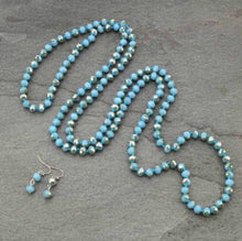 Load image into Gallery viewer, Glass beaded necklace & earring set