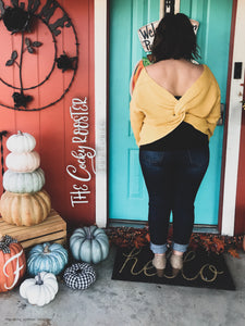 Ever so cozy twist sweater {Mustard} {reversible}