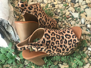 Suede cheetah wedges