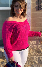 Load image into Gallery viewer, Fuchsia La La Boom twist sweater (reversible)