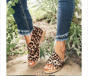 Cheetah wrap sandals