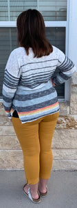 Multi colored striped sweater