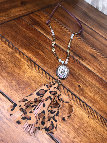Cheetah tassel necklace