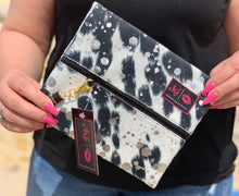 Load image into Gallery viewer, Rodeo queen {black acid wash} makeup junkie bag