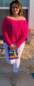 Fuchsia La La Boom twist sweater (reversible)