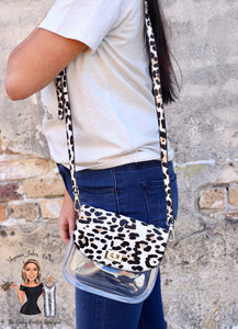 Varsity clear and leopard purse