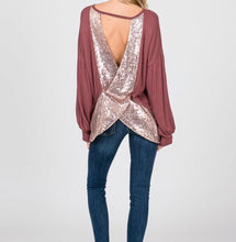 Load image into Gallery viewer, Waffle knit sequin open back top