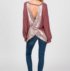 Waffle knit sequin open back top