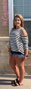 The Darla top {White with black stripes}