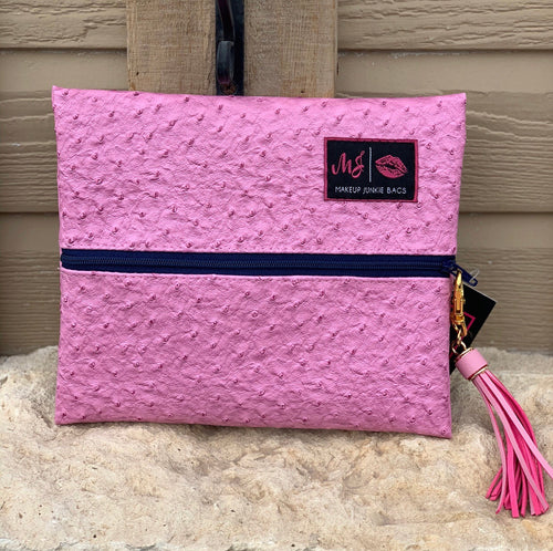 Pink Ostrich Priscilla {small} makeup junkie bag