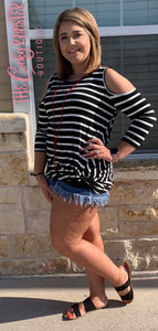 The Darla top {Black with white stripes}
