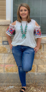 Floral embroidered knit top
