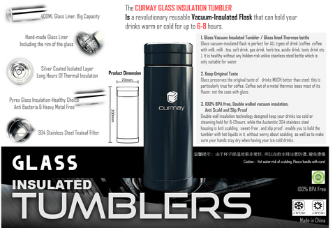 Glass Liner Insulation Tumbler - Superdeals-Cart