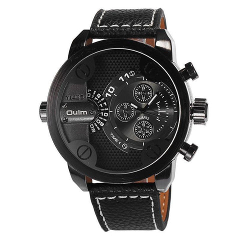 Oulm Top Luxury Brand Watches Men Leather Strap Big Dial Quartz Clock Male Watch Military Wrist Watch Relogio Masculino - Superdeals-Cart