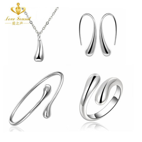 925 Jewelry Sets S222 Silver Water Drop Drip Jewelry Set Ring Necklace Bangle Earring 18inch Solid Women Indian African Hot 925 - Superdeals-Cart