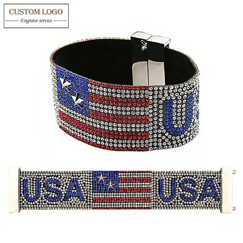 AZIZ BEKKAOUI Magnetic Wide Bracelet Handmade Full Rhinestone American Flag Charm Bracelets For Women Punk Rock Men Jewelry - Superdeals-Cart