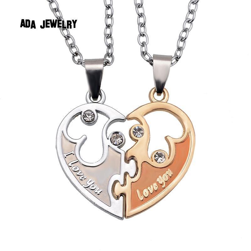 Wholesale 2015  I Love You Letters Heart Pendant New Couple Lovers Necklaces Fashion Women And Men Metal Chain Necklace Jewelry - Superdeals-Cart
