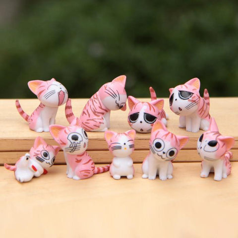 9pcs/set Chi Cat Toys Sweet Cheese cat Doll Figure Set Cat Furnishing 9pcs/set 3cm Height  Eco bottle decorated figurine - Superdeals-Cart