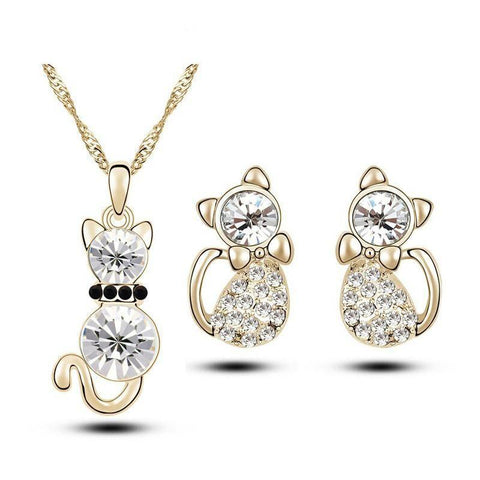 free shipping wholesales  gold plated Austrian Crystal cute cat catty pendant necklace earrings fashion jewelry set 6 colors - Superdeals-Cart