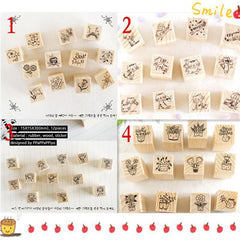 12 pcs/lot (1 bag) DIY Cute Cartoon Cats Flowers Girls Wood Stamps for Kids Decor Diary Scrapbooking Gift Free shipping 634 - Superdeals-Cart