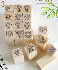 12 pcs Cute Cartoon Wood Stamps