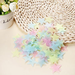 100PCS Colorful Luminous Home Glow In The Dark Stars Wall Stickers