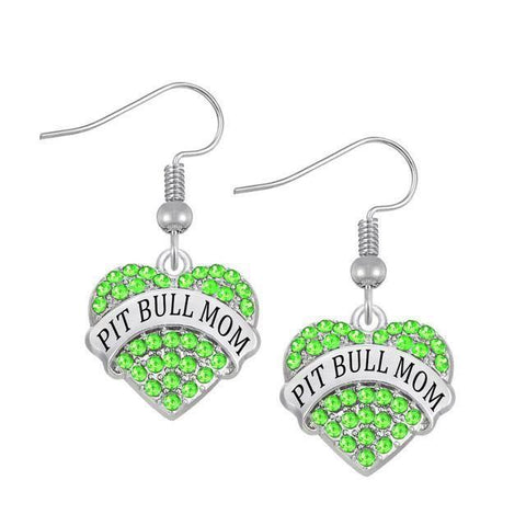 Pit Bull Mom Collection- Heart Charm Crystal Pit Bull Mom Earring - Superdeals-Cart