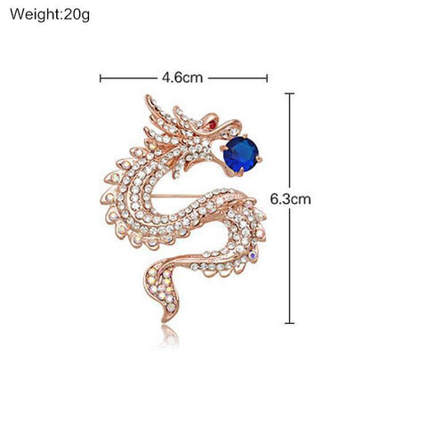 Crystal Rhinestone Dragon Brooche - Superdeals-Cart
