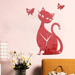 Cat Mirror Wall Clock