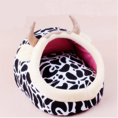2016 New Crazy Cow Dog Bed cat Kennel Mat Soft Fleece Pet Dog Puppy Warm Bed House Plush Cozy Nest Dog House Pad warm pet house - Superdeals-Cart