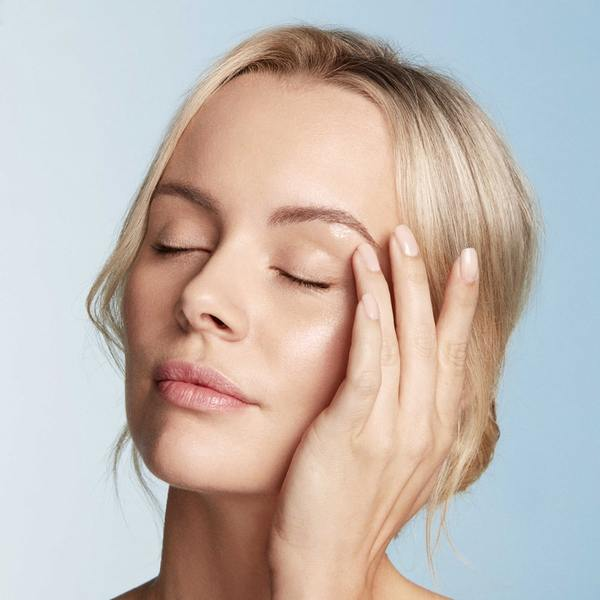 Morning and night, gently smooth along the orbital bone including the undereye contour. Follow with makeup application