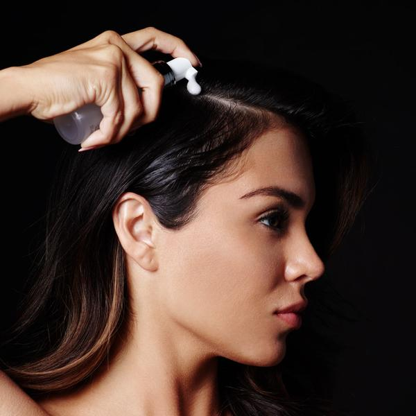 Use once daily on wet or dry hair. Pump the bottle a few times to release air until foam appears. For shorter hair, pump foam onto hands and massage into scalp and the roots of hair.  For longer hair, separate hair into sections and apply nozzle directly onto head, pumping to release product as you go.