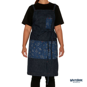 Denim/Paisley Full Cross-Back Apron