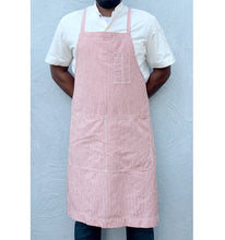 Load image into Gallery viewer, Red / Natural Striped Full Cross-Back Apron