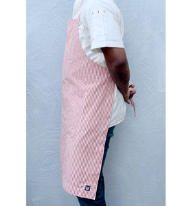 Red / Natural Striped Full Cross-Back Apron