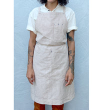 Load image into Gallery viewer, Coffee Brown / Natural Striped Full Cross-Back Apron