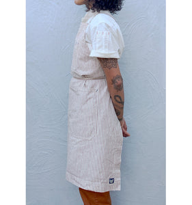 Coffee Brown / Natural Striped Full Cross-Back Apron