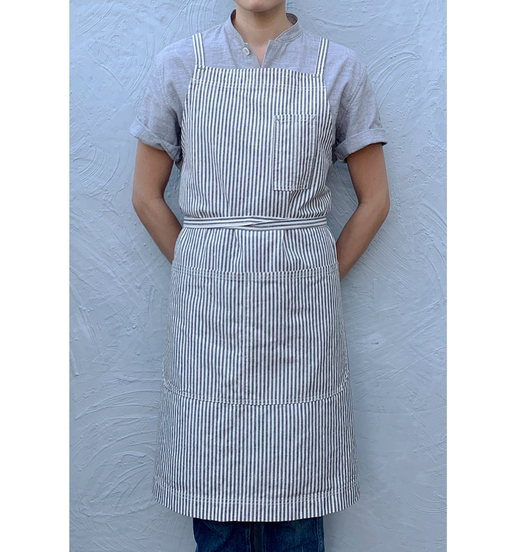 Indigo / Natural Striped Full Cross-Back Apron