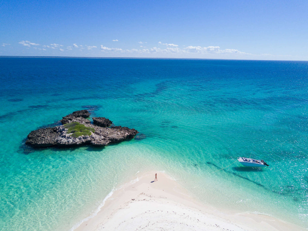Bazaruto Archipelago - Mozambique - Birds Eye View of Ocean and White Sand Beach