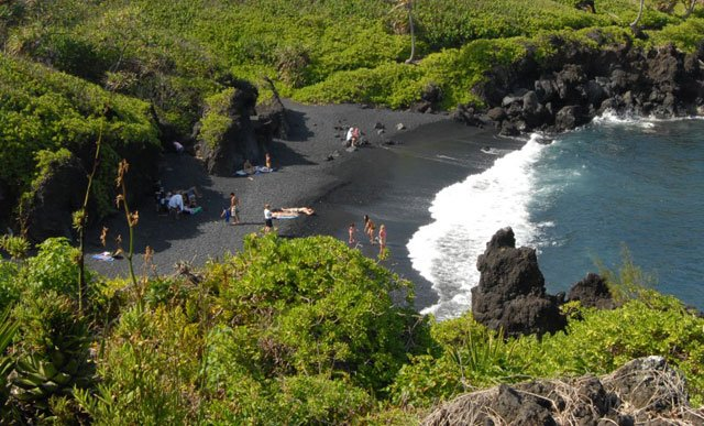 Honokolani Beach, Hawaii - Black Sand Beach - Maui