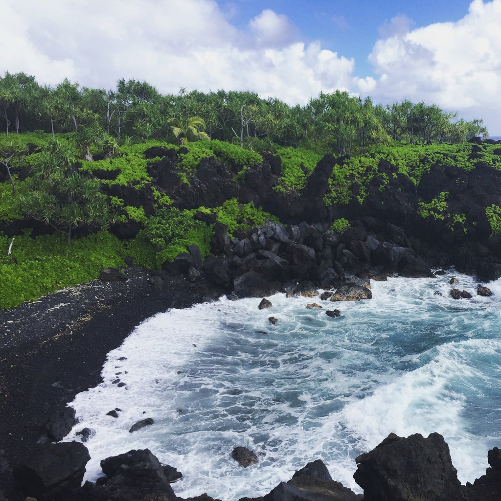 Honokolani Beach, Hawaii - Black Sand Beach - Maui Hawaii - Ocean Tides