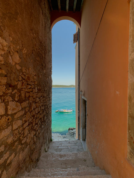 View of Adriatic Sea in Rovinj, Croatia stairway
