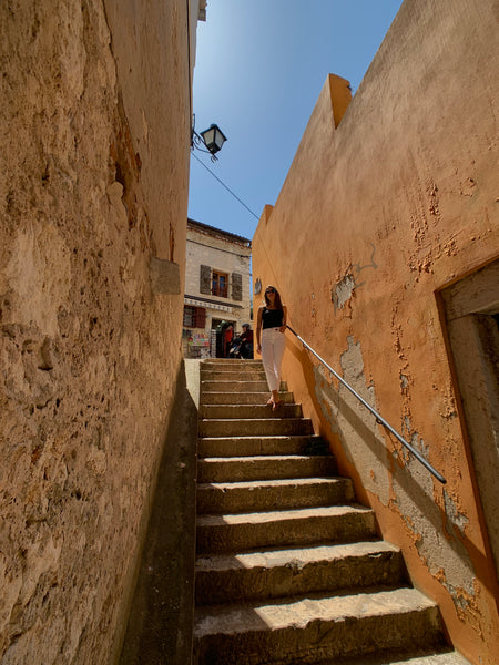 Narrow stairway in Rovinj, Croatia Old Town