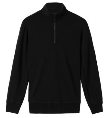wings + horns - Black Wool Half-Zip - Made in Canada