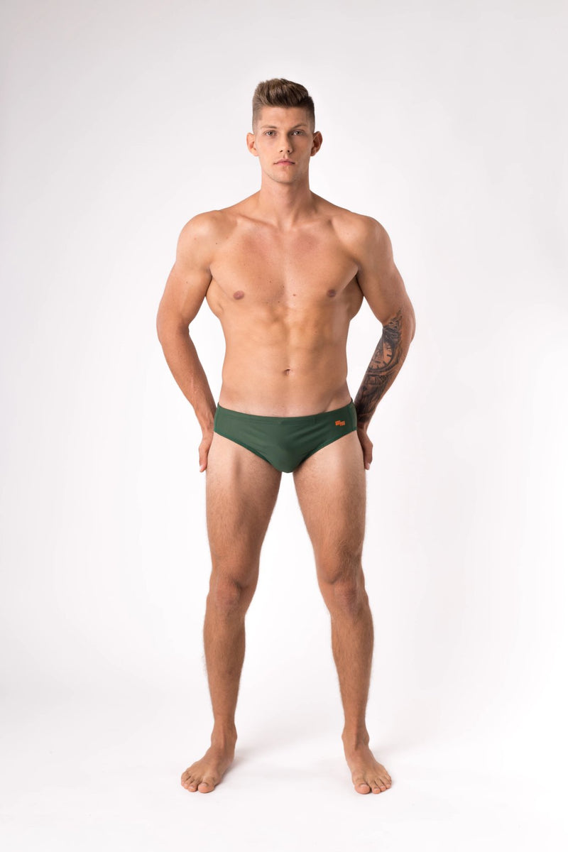 Green swim brief made with ECONYL - Copper Bottom Swim