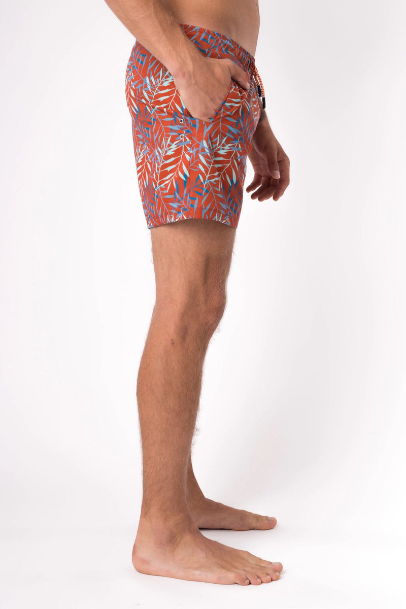 Orange swim trunks for men - Copper Bottom Swim