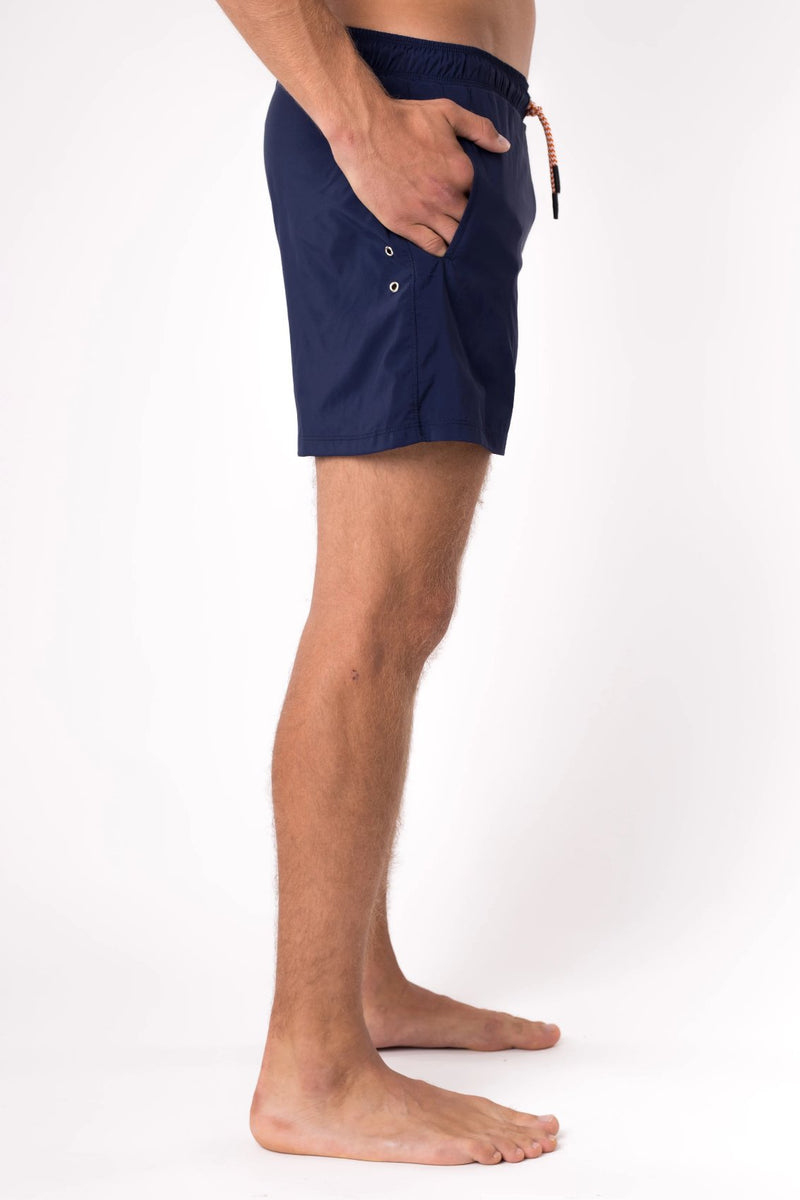 Navy blue swim trunks for men - Copper Bottom Swim