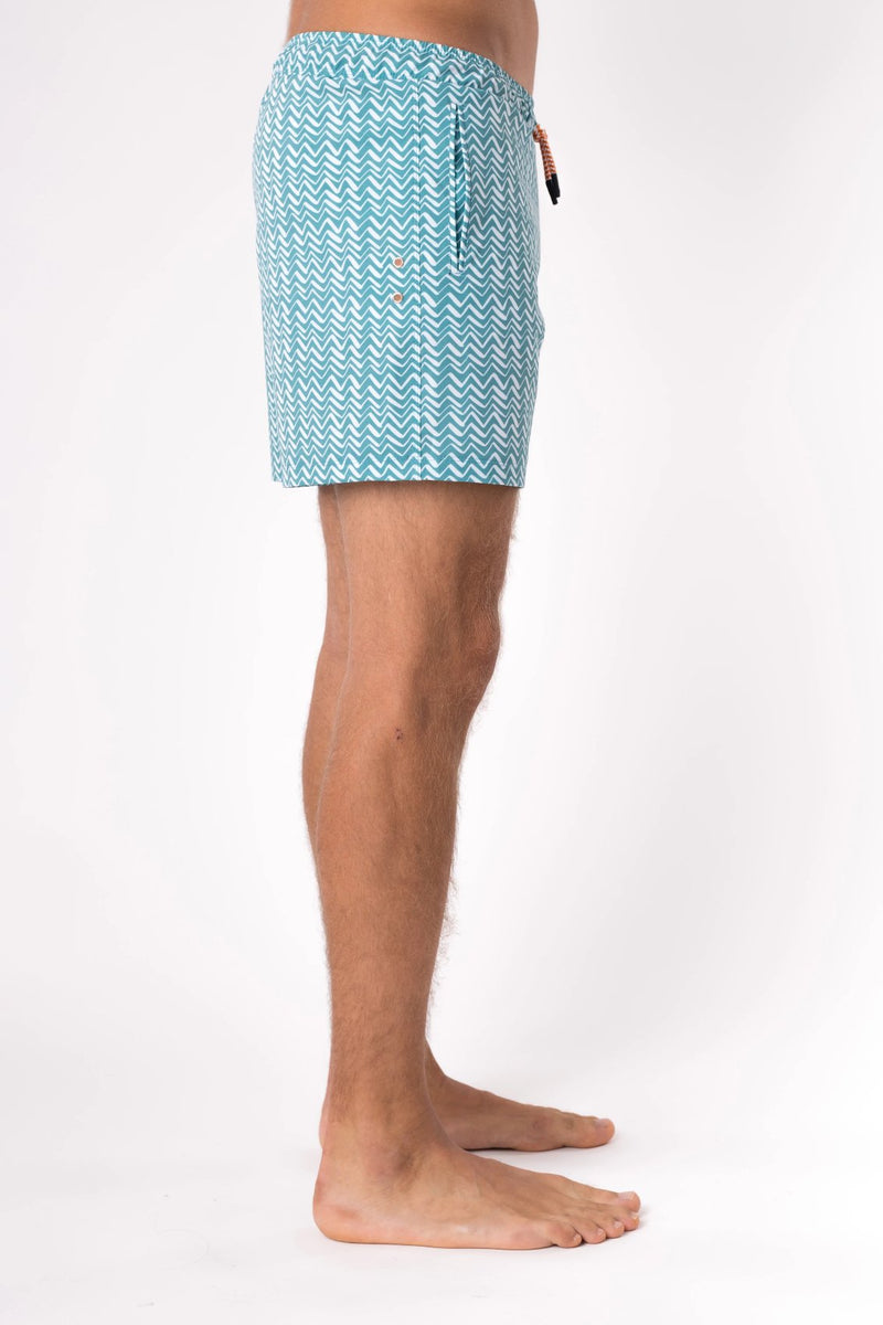 Designer swim trunks in teal - Copper Bottom Swim