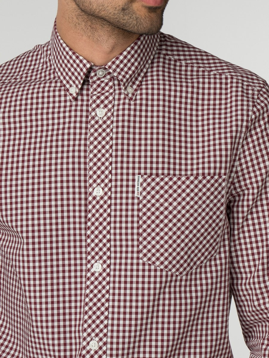 Camisa de manga larga con cuadros - Dark Red