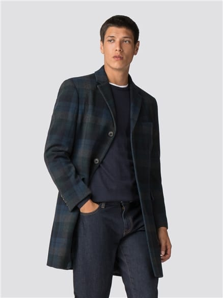Statement Check Tailored Coat - Dark Green